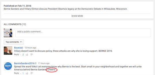 "Now one screenshot ahead of ""Bernie bro"""