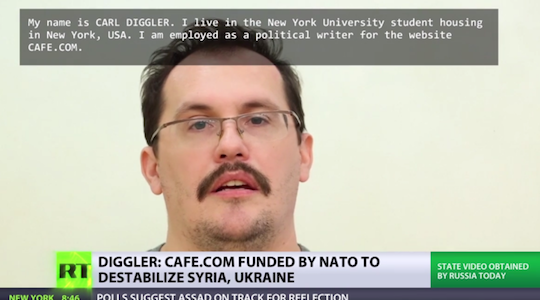 Cafe.com pundit Carl Diggler appears as a hostage on Russian state television.