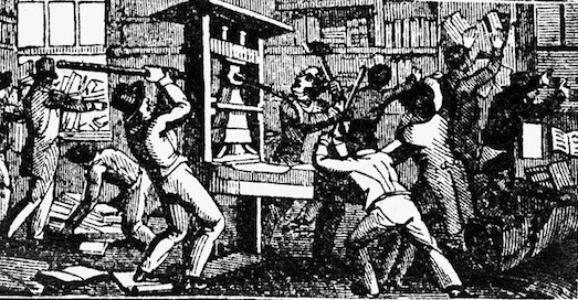 A mob destroys the printing press of the Alton Observer in Missouri, 1837.