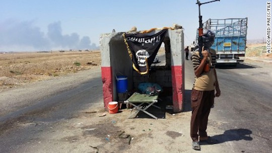 An ISIS checkpoint outside Beiji refinery in Iraq