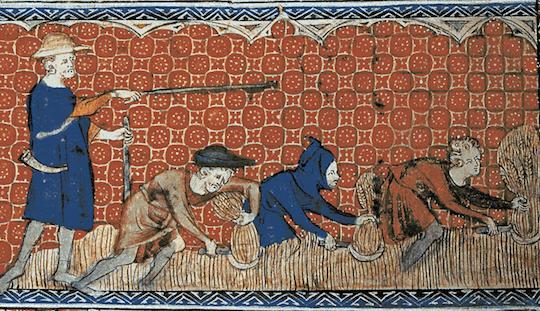 A reeve directs serfs on a feudal demesne, circa 1310.