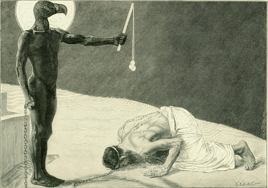 """Mammon and His Slave"" woodcut by Johann Jacob Weber, c. 1896"