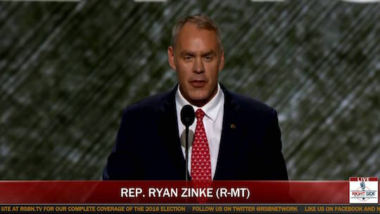 Commander Zinke addresses the RNC in front of an OS X Lion desktop.