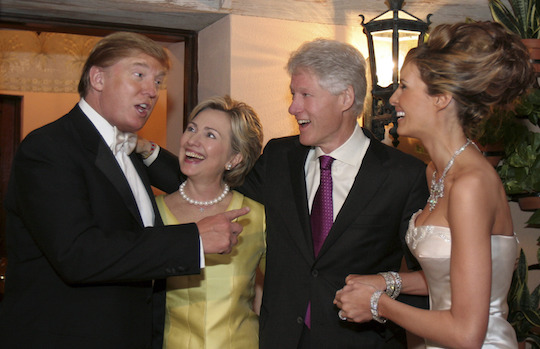 The Trumps and Clintons in happier times