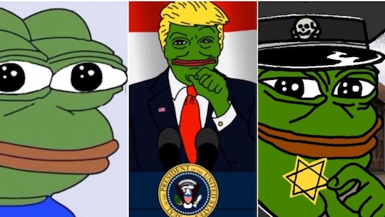 Various iterations of internet meme Pepe the Frog