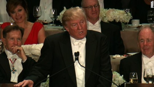 Donald Trump begins to bomb at the Al Smith dinner.