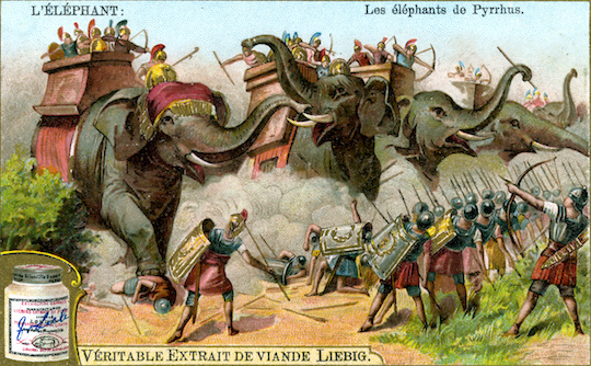 Pyrrhus's war elephants in an ad for, uh, meat extract?