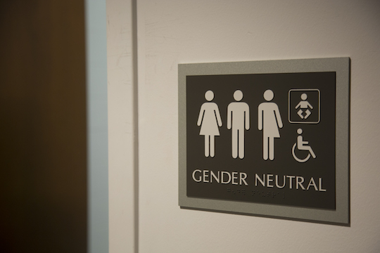 A bathroom sign depicting the five genders