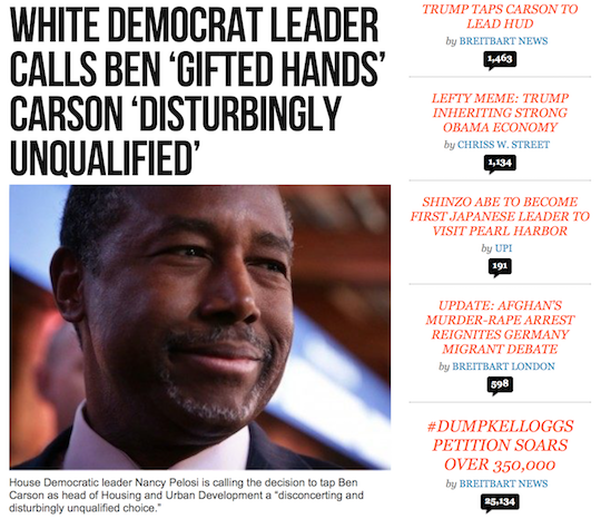 The homepage of Breitbart.com around noon eastern